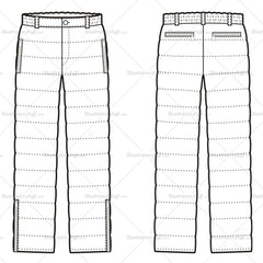 Unisex Quilted Down Pants Fashion Flat Template