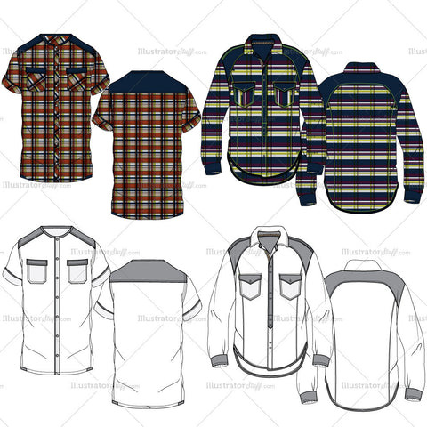 Men's Casual Plaid Shirt Fashion Flat Templates