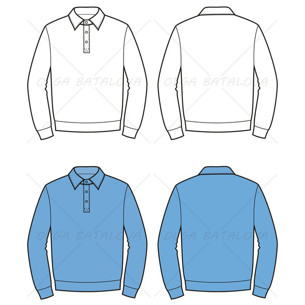 Men's Polo Sweater Fashion Flat Template