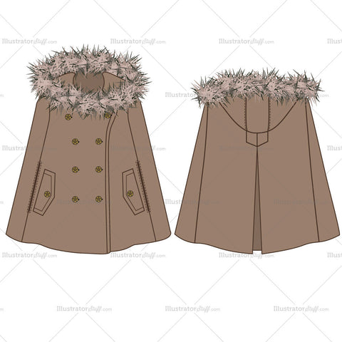 Poncho Coat Fashion Flat Templates