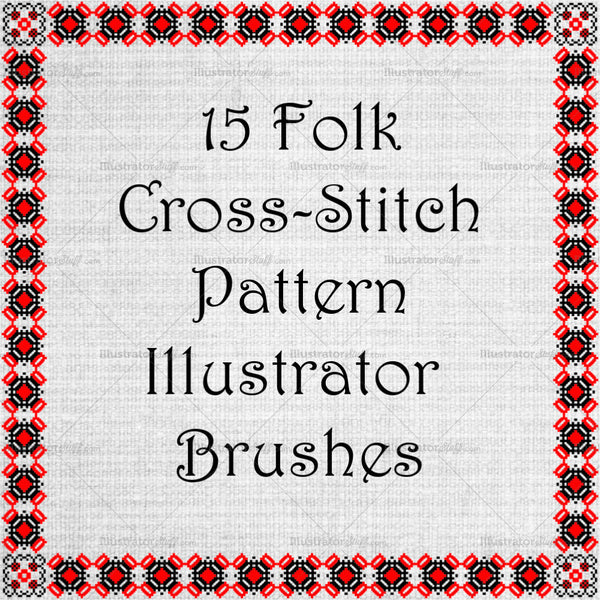 Ancient Folk Cross-stitch Ornament - Red And Black Motive Adobe Illustrator
