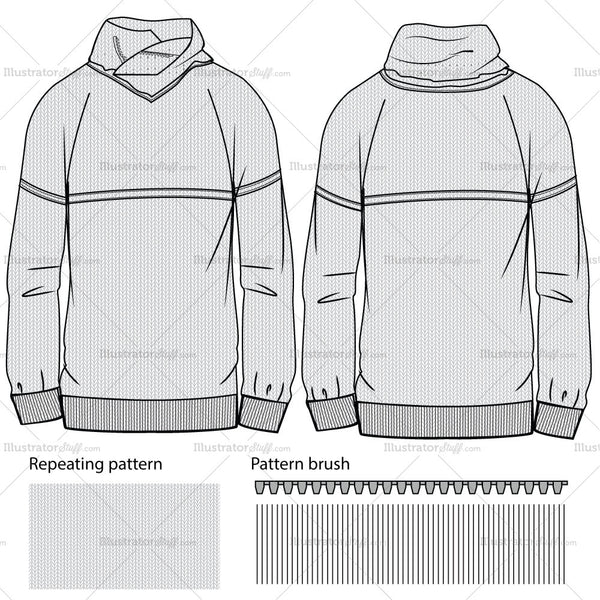 Men's Pullover Fashion Flat Templates