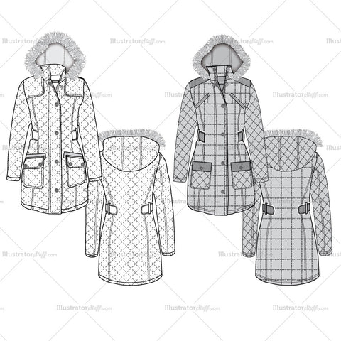 Women's Quilted Parka Fashion Flat Templates