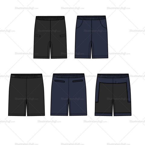 {Illustrator Stuff} Men's Running Shorts Fashion Flat Template