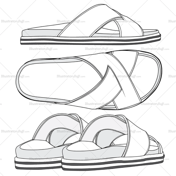 Men's Sandal Fashion Flat Templates