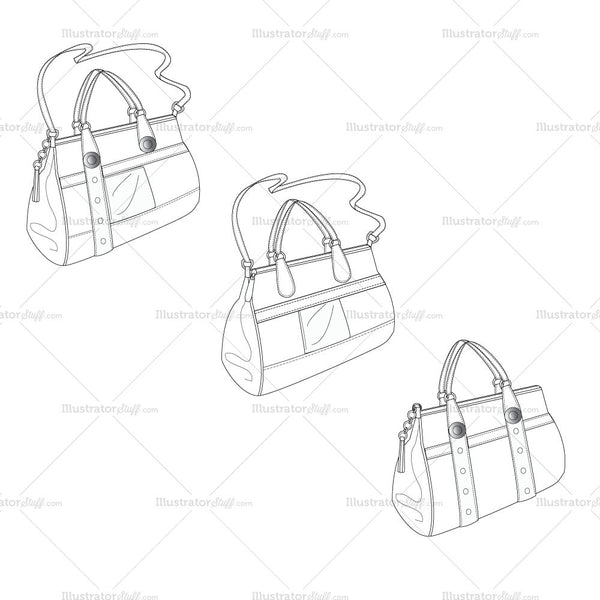 {Illustrator Stuff} Women's Satchel Bag Fashion Flat Template