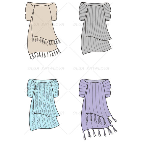 Knit Scarves Fashion Flat Templates