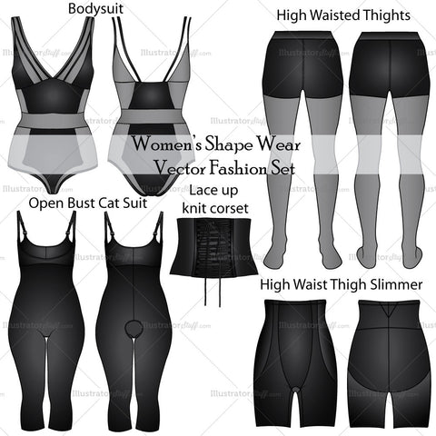 Women's Shape Wear Fashion Flat Templates