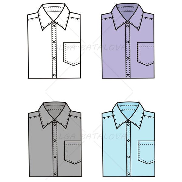 {Illustrator Stuff} Men's Folded Dress Shirt Fashion Flat Template