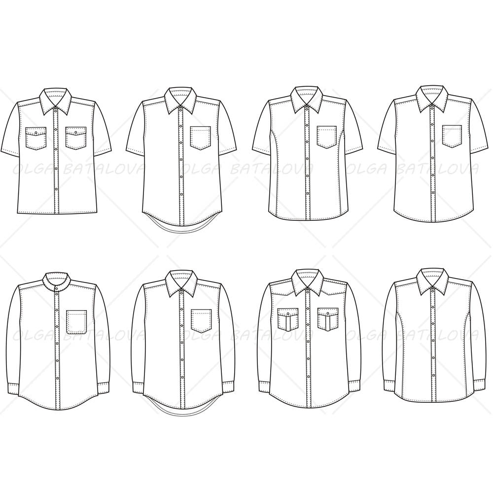 Men 39 s button down shirt fashion flat template for Clothing templates for illustrator