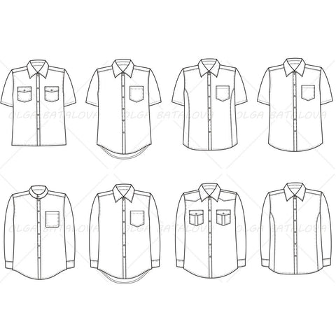 {Illustrator Stuff} Men's Button Down Shirt Fashion Flat Template