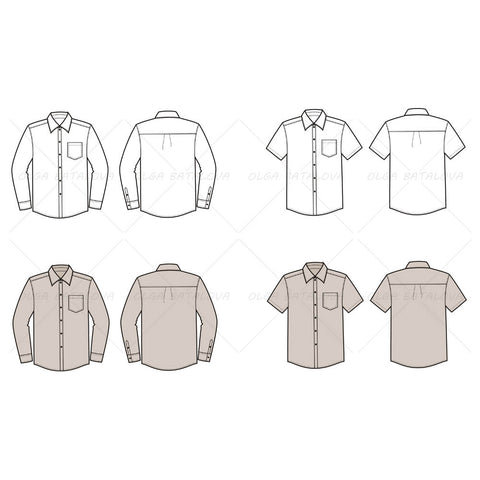Men's Button Down Shirt Fashion Flat Templates