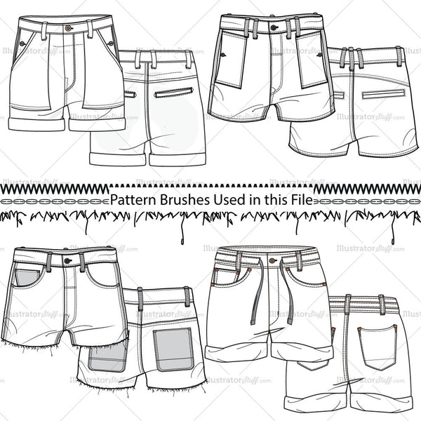 Women's Shorts Fashion Flat Templates