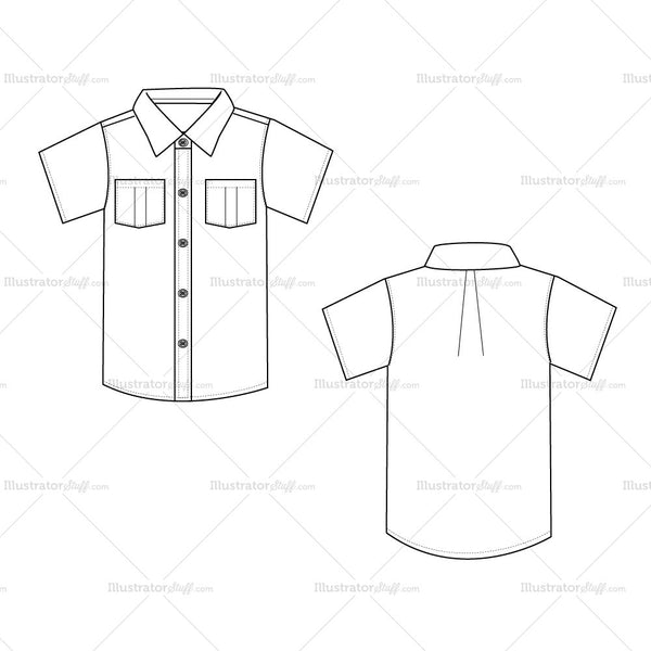 men 39 s button down shirt fashion flat template illustrator stuff. Black Bedroom Furniture Sets. Home Design Ideas