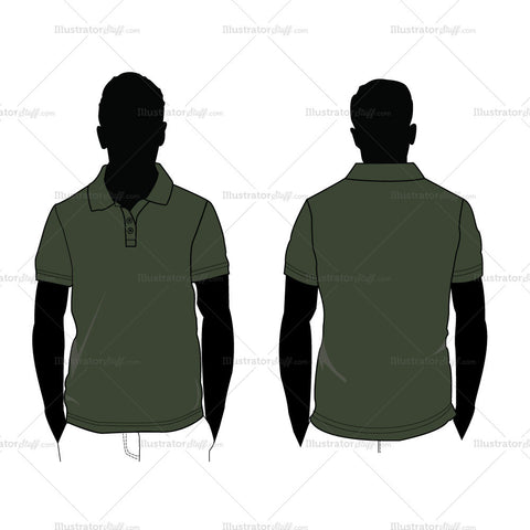{Illustrator Stuff} Men's Polo Shirt Fashion Flat Template