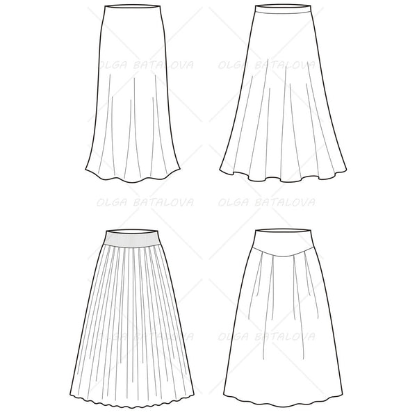 Women's Long Skirt Fashion Flat Template