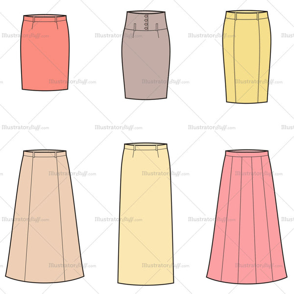 Women's Skirt Fashion Flat Template