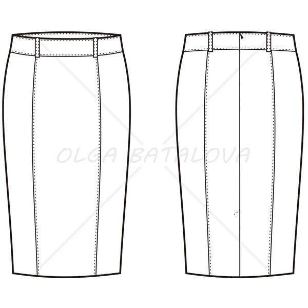 Women's Pencil Skirt Fashion Flat Template