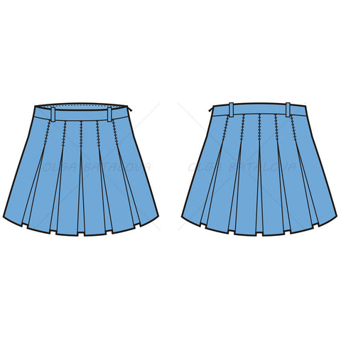 {Illustrator Stuff} Women's Pleated School Girl Skirt Fashion Flat Template
