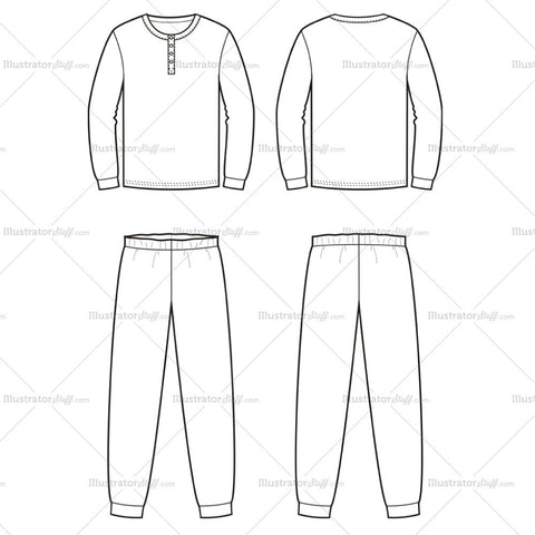 Men's Pajamas Fashion Flat Template