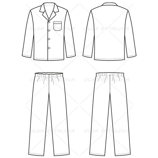 Men's Pajama Fashion Flat Template