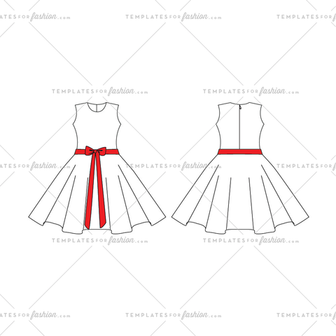 Sleeveless Dress Fashion Flat Templates