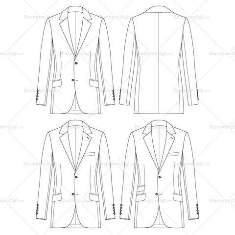 {Illustrator Stuff} Men's Slim Jacket Fashion Flat Template