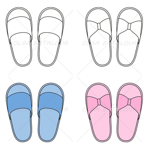 Unisex House Slippers Fashion Flat Template