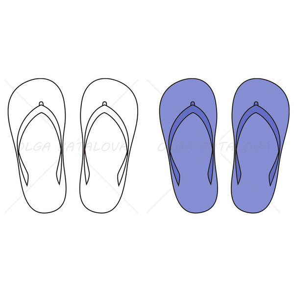 Unisex Flip Flop Fashion Flat Template