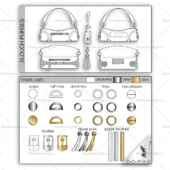 Slouch Purse Fashion Flat Templates