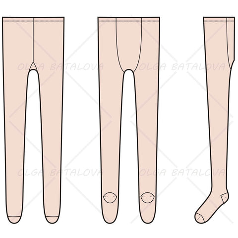 {Illustrator Stuff} Women's Tights Fashion Flat Templates