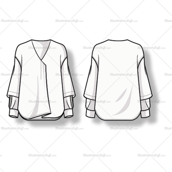 Women's Long Sleeve Blouse. V-neck Fashion Flat Template.