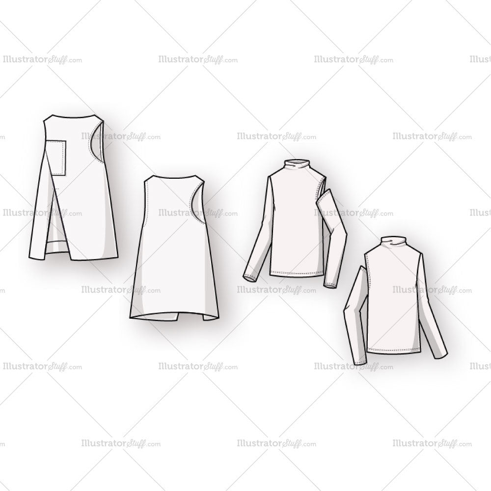 vest top template - women 39 s boat neck a line vest fashion flat template with