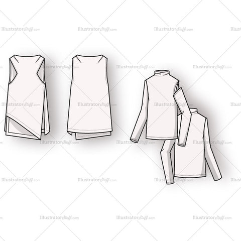 Women's Boat Neck A-line Vest Fashion Flat Template With Mock Neck Jersey.