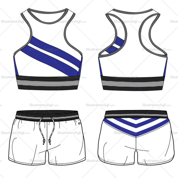 Sports Bra And Shorts Fashion Flat Templates