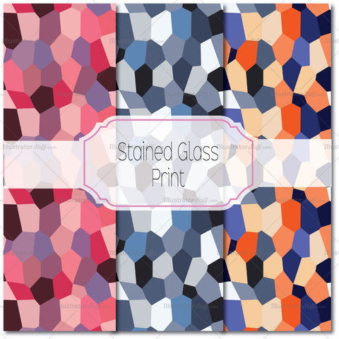 Stained Glass Pattern Vector- 3 Colors