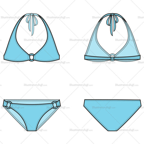 Women's Swimsuit Fashion Flat Template