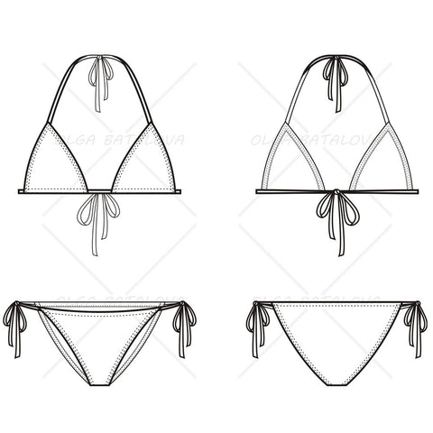{Illustrator Stuff} Women's Triangle Bikini Fashion Flat Template