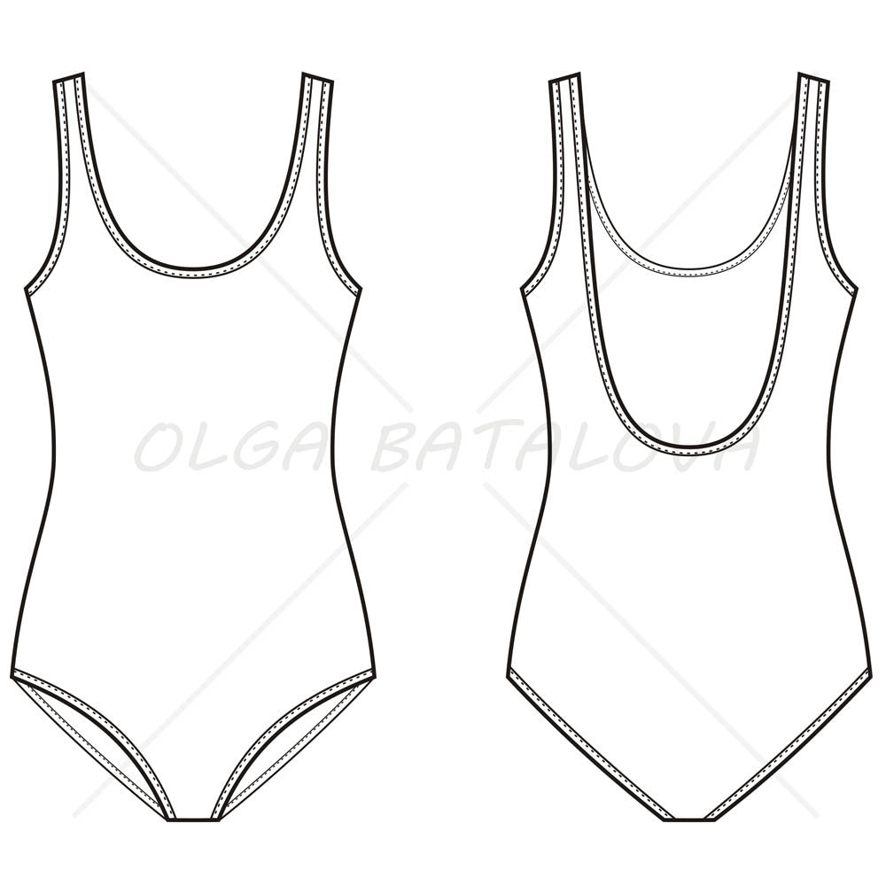 Women's One Piece Swim Suit Fashion Flat Template