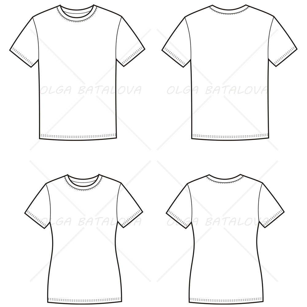 T Shirt Design Line Art : Women s and men t shirt fashion flat templates