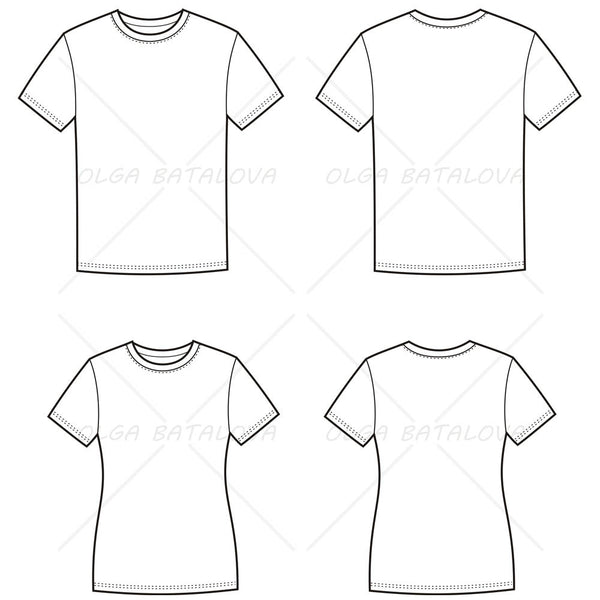 {Illustrator Stuff} Women's and Men's T-Shirt Fashion Flat Templates
