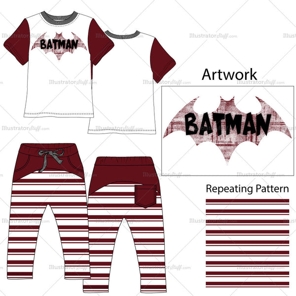 Toddler Boys T-shirt & Trousers Fashion Flat Templates.