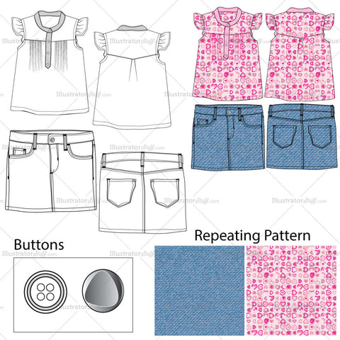 Girls Top & Denim Skirt Fashion Flat Templates