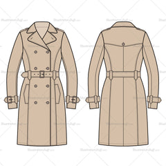 Women's Trench Coat Fashion Flat Template