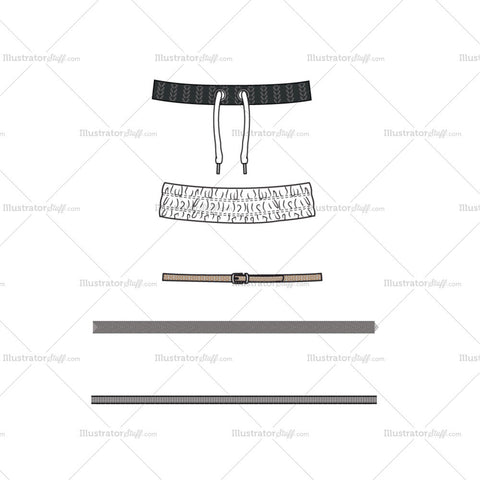 Belt, waistbands and tapes Fashion Flat Template