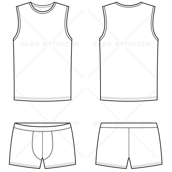 {Illustrator Stuff} Men's Boxer Brief & Tank Top Fashion Flat Template