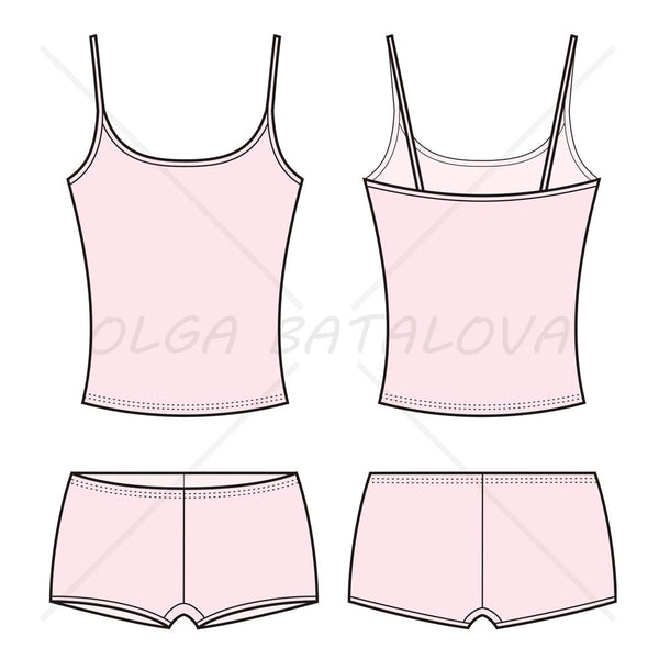 Women's Underwear Fashion Flat Template