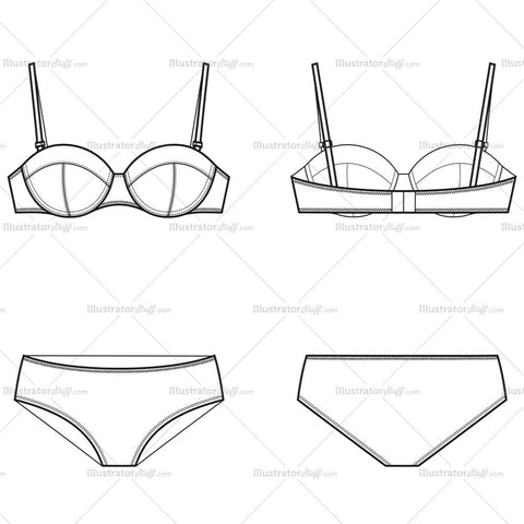 Women's Bra & Underwear Fashion Flat Template