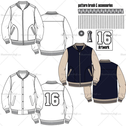 Men's Varsity Jacket Flat Templates