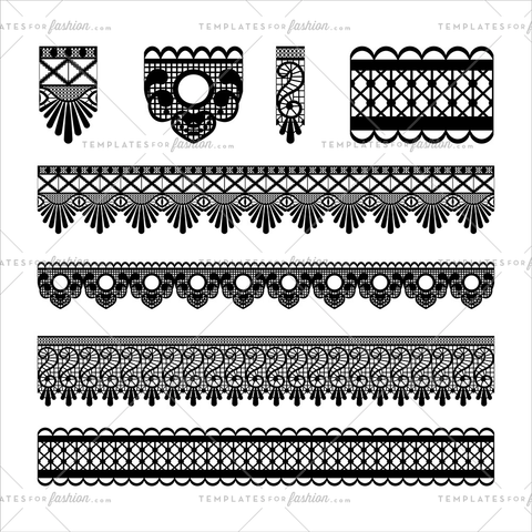 vector lace trim brushes